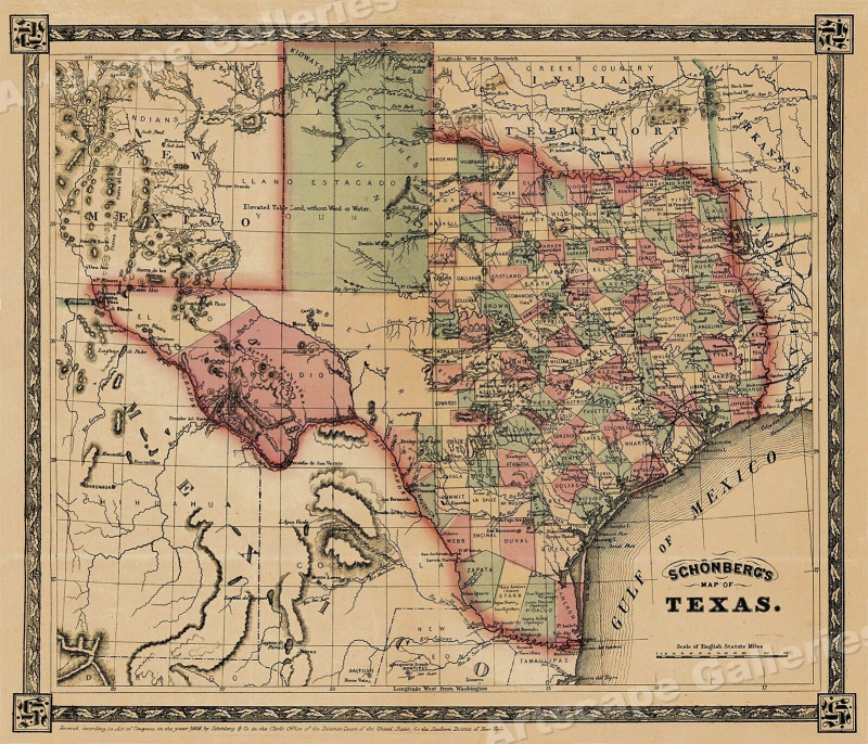 1866 Schönberg's Early Map of Texas Historic